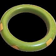 Vintage  green polka dots Bakelite bangle bracelet