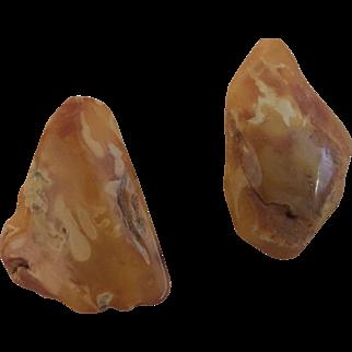Vintage raw amber Chucky earrings
