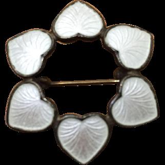 Vintage Sterling Volmer Bahner White Hearts Brooch Pin