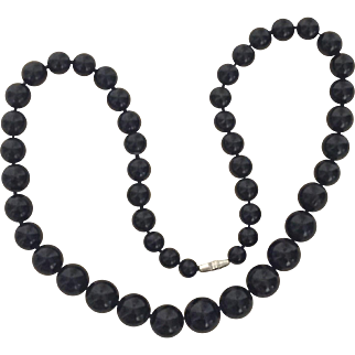 Vintage Natural Black Coral Round Beads Necklace