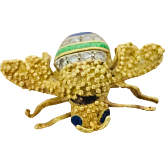 18Kt Yellow Gold  And Enamel Bee Brooch Pin Signed