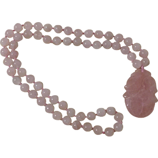 Vintage Genuine Rose Quartz Knotted Necklace With Pendant