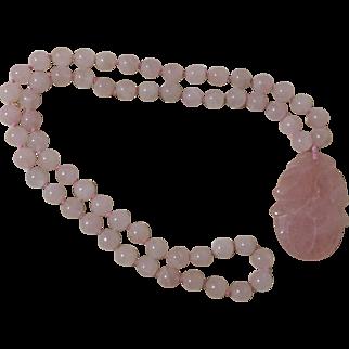 Vintage Genuine Rose Quartz Knotted Necklace With Pendant