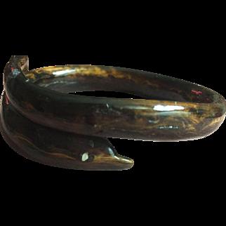Vintage brown black coral dolphin bracelet bangle