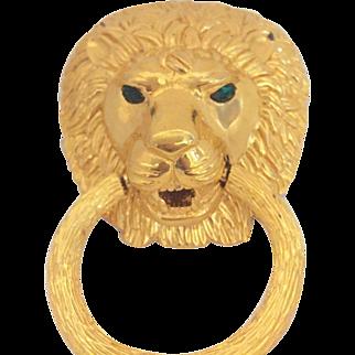 Vintage D Orlan Lion head Door Knocker Pin Brooch