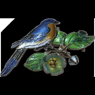 Vintage Sterling Silver Enamel Bird On A  Tree Brooch Pin