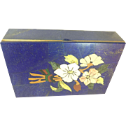 Vintage Lapiz Lazuli Gemstones Inlaid Jewelry box