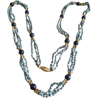Vintage Freshwater Pearls and lapis necklace 14kt clasp