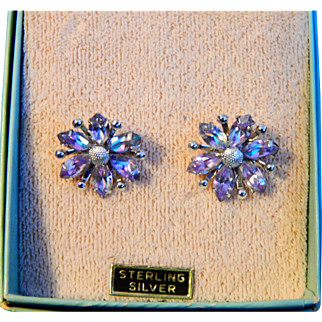 Vintage Pair Mint Condition Sterling and Lavender  A&Z Earrings