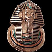 Vintage Eisenberg Enamel Pharaoh Egyptian Revival Large Pendant