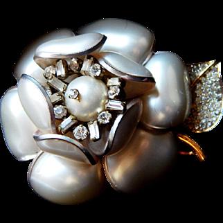 Vintage Nettie Rosenstein Elegant Mother of Pearl Petals Accented by Rhinestones Brooch