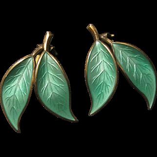 Vintage David Anderson Green Enamel on Sterling Leaf Earrings