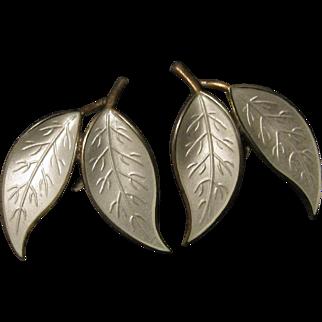 Vintage David Anderson of Norway White Enamel Leaves on Sterling Earrings