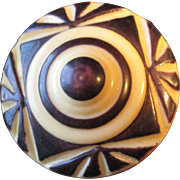 Vintage Black and White (Ivory) Colored Art Deco Style Self Shanked Button