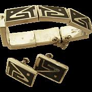 Los Castillo Onix Negro silver inlay bracelet-earrings set