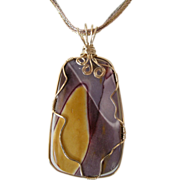 Mookaite Pendant with gold-filled Wire Wrap and 7-strand necklace