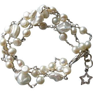 3-strand Pearl Bracelet with Charm
