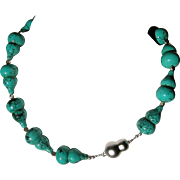 Uniquely shaped Turquoise and Silver Necklace and Earring Set