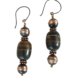 Jasper Earrings with handmade oxidized silver and inlaid copper beads