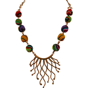 Peruvian Textile beads Necklace with copper focal piece