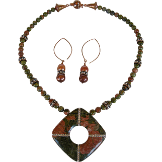 Unakite Pendant Set with Cubic Zirconia Inlay, copper clasp and Separators