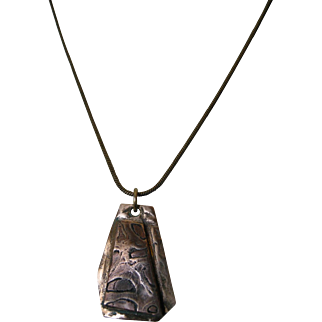Mixed Metals pendant in Mokume Gané effect with antiqued bronze chain