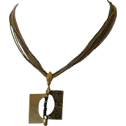 Hinged Gold-Filled Pendant with glittery Hematite beads, multiple chain necklace