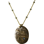 Bronze Mixed Metals Clay Pendant with cubic zirconia