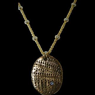 Bronze Mixed Metals Clay Pendant with cubic zirconia