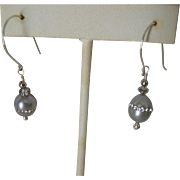 Grey cultured pearl Earrings with inlaid cz's on sterling silver Ear wires