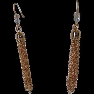 Timely tassel earrings, gold-filled