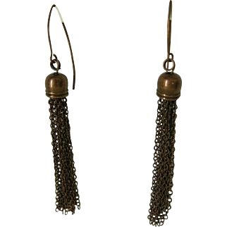 Antiqued copper tassel earrings, copper ear wires
