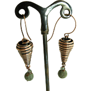 Handmade copper wire cone Earrings, with Jasper bead and wrapped Swarovski crystal
