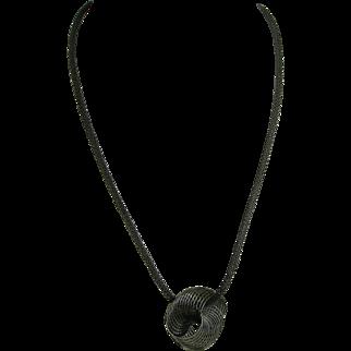 MÖBIUS Pendant, Steel, Infinity symbol, on Gunmetal mesh chain