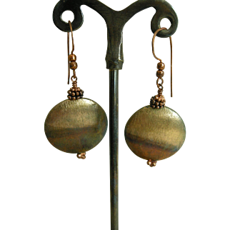 Copper Patina round hollow earrings, with antiqued copper ear wires
