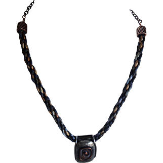 Copper,silver, pendant with Kumihimo chain