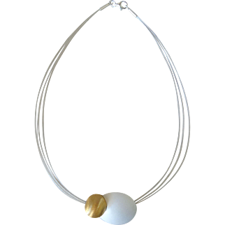 Contemporary silver and gold-filled Choker, sterling silver necklace