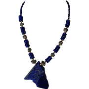 Spectacular Lapis Lazuli raw and polished Pendant with Lapis and Pyrite nuggets