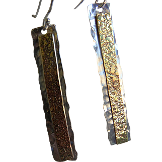 Hammered bar earrings with textured brass overlay