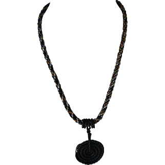 Medieval man-piece, wrought iron pendant, Kumihimo necklace