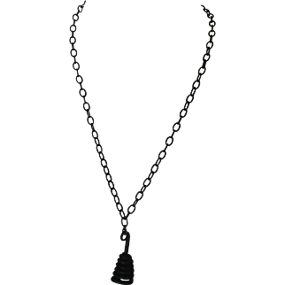 Forged iron bell pendant with gunmetal chain