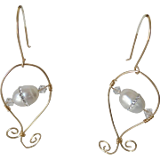 Dressy pearl earrings with cz inlay, on gold-filled wire spirals