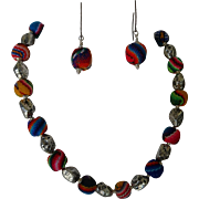 Peruvian textile woven beads with pewter separators and silver toggle clasp