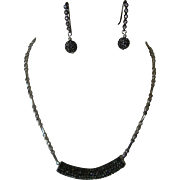 Long Bling Slider on faceted silver chain with matching earrings Set