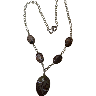 Jasper beads with inlaid cubic zirconias, on sterling silver chain and clasp