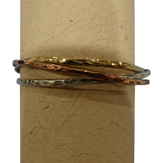 Hammer-textured three-metal banded Bracelet