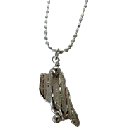 Silver Broomstick casting pendant with matte silver chain
