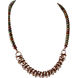 Copper Chain Maille with cultured pearls Necklace