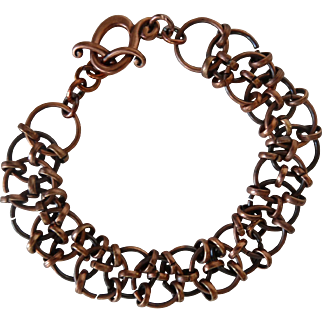 Copper Chain Maille Bracelet with Patina