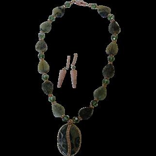 Green Jasper pendant with inlaid cubic zirconias, green carved Jasper leaves, Swarovski crystals